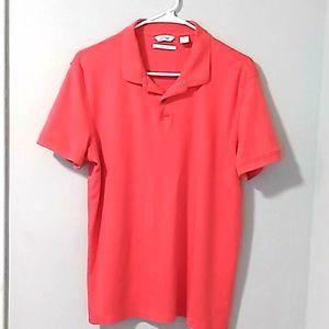 Mens Calvin Klein Coral Polo Shirt. Sz Medium